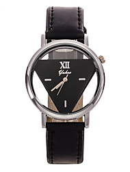 Masculino Mulheres Unissex Relógio de Moda Quartzo Couro Banda Flor Preta Branco Preto