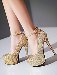 Women's Heels Spring Summer Fall Glitter Wedding Dress Party & Evening Stiletto Heel Sequin Buckle Gold White Black Silver