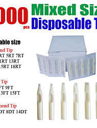 Solong Tattoo 1000 x Disposable Plastic Tattoo Tips Assorted Mixed Size for Gun Grip Needle TP402-1000