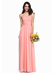 LAN TING BRIDE Floor-length V-neck Bridesmaid Dress - Open Back Elegant Sleeveless Chiffon Lace