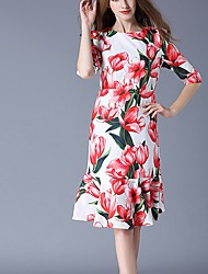 Women's Casual/Daily Simple Sheath Dress,Floral Round Neck Knee-length ½ Length Sleeve Polyester White Spring Mid Rise Inelastic