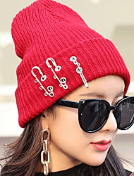 Unisex Casual Men Women Solid Color Pin Knit Wool Crimping Warm Leisure Hat