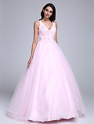 Ball Gown V-neck Floor Length Tulle Formal Evening Dress with Beading Flower(s) by TS Couture®