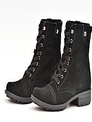 Women's Boots Fall Winter Comfort Suede Outdoor Office & Career Dress Casual Low Heel Buckle Lace-up Split Joint Black
