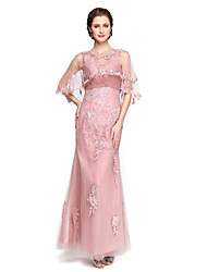 A-ligne v-cou longueur cheville lace tulle mère de la robe de mariée avec appliques plis