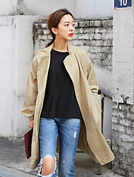 Japan and South Korea new spring coat collar casual loose drawstring waist and long sections wild thin coat Women