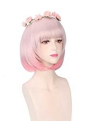 curto do fumo rosa ombre peruca de moda lolita linda calor natural estilo bob resistentes cosplay sintética peruca festa