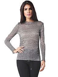 Women's Going out Casual/Daily Simple Street chic Spring Fall BlouseSolid Round Neck Long Sleeve Silver Polyester Translucent