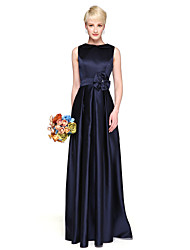 Sheath / Column Jewel Neck Floor Length Satin Bridesmaid Dress with Flower(s) Pleats by LAN TING BRIDE®