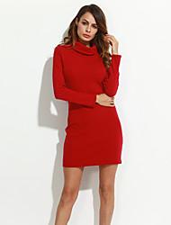 Gaine Robe Femme Sortie simple,Couleur Pleine Col Roulé Mini Manches Longues Rouge / Jaune Coton Automne Taille Normale Elastique Epais