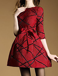 Women's Going out Simple Sheath Dress,Jacquard Round Neck Above Knee ¾ Sleeve Polyester Red Spring Fall Mid Rise Micro-elastic
