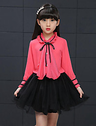 Girl Casual/Daily Holiday School Solid Shirt,Polyester Summer Spring Long Sleeve