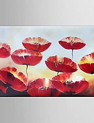 Hand-Painted Abstract Landscape Modern Blooming Flowers Oil Painting On Canvas Ready To Hang One Panel