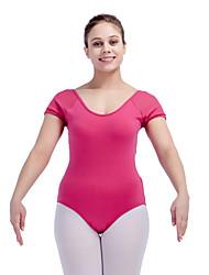 Ballet Leotards Women's Children's Training Cotton Lycra Mesh Splicing 1 Piece Short Sleeve Leotard