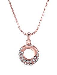 Feminino Colares com Pendentes Zircônia cúbica Formato Circular Forma Geométrica Zircão Rosa Folheado a Ouro LigaOriginal Pingente