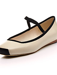 Non Customizable Women's Dance Shoes Leather Leather Ballet Flats Flat Heel Practice Professional Performance Black Nude