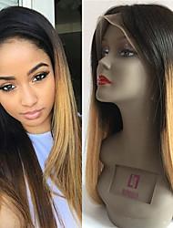 Mujer Pelucas de Cabello Natural Remy Encaje Frontal Frontal sin Pegamento 130% Densidad Liso Peluca Negro / Medio Brown / Strawberry
