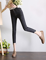 Spot really making 2017 spring new Korean version was lanky waist jeans female elastic edging denim pants feet