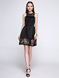 LAN TING BRIDE Short / Mini Jewel Bridesmaid Dress - Short Little Black Dress Sleeveless Lace Satin
