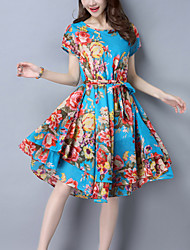 Women's Going out Casual Street chic Loose Swing Dress Print Bow Layered Knee-length Short Sleeve Cotton /Linen Blue /Red /Fuchsia Summer