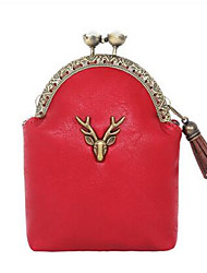 Women-Casual-PU-Coin Purse-Red / Black