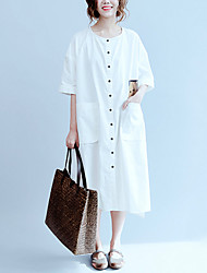 Women's Slim Loose DressSolid Print Flower Round Neck Midi Short Sleeve Cotton White Spring Mid Rise Micro-elastic
