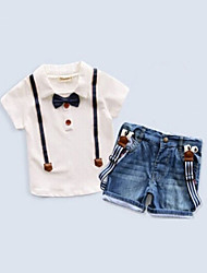 Boy's Cotton Blend Clothing Set,Summer Solid