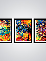 Modern Abstract Tree Canvas Print  3pcs/set  Colorful Tree and Leaves for Wall Decoration Ready to Hang