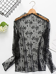 Women's Going out Sexy Simple Spring Summer Blouse,Solid Striped Round Neck Long Sleeve Black Polyester Sheer