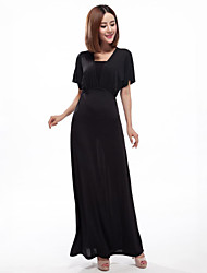 Women's Plus Size Street chic Swing Dress,Solid Deep V Maxi Short Sleeve Polyester Blue Black Spring Summer Mid Rise Micro-elastic