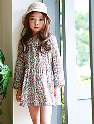 Girl's Casual/Daily Floral Dress,Rayon Spring Fall Long Sleeve