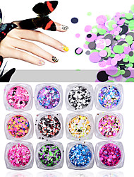 12pcs Colorful Round Ultrathin Sequins Nail Art Glitters Mix Sizes Charm Nail Art Decoration