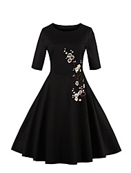 Women's Plus Size Party Vintage Sheath Dress,Embroidered Round Neck Knee-length ¾ Sleeve Cotton Polyester White Black SummerHigh