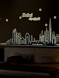 Dubai Architecture Wall Stickers Plane Wall Stickers Luminous Wall Stickers Decorative Wall StickersPaper Material Removable Home Decoration