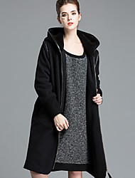 Women's Going out Street chic Sophisticated Trench Coat,Solid Hooded Long Sleeve Fall Winter Wash inside out Dry flat Cotton Polyester