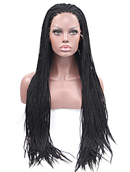 Braided Heat Resistant Synthetic Lace Front Wig Black Color Synthetic Hair Fiber Wigs