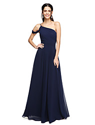 2017 Lanting Bride® Floor-length Georgette Elegant Bridesmaid Dress - A-line One Shoulder with Ruching Pleats