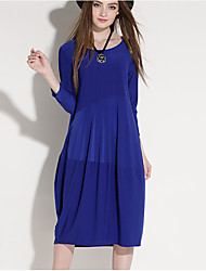 Women's Casual/Daily Holiday Plus Size Sexy Vintage Simple Loose Dress,Solid Round Neck Knee-length Long Sleeve Polyester Spandex FallMid