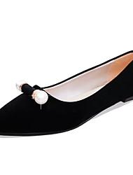 Women's Flats Comfort PU Spring Casual Walking Comfort Pearl Low Heel Black Beige Blue Blushing Pink 1in-1 3/4in