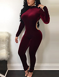 Women's Skinny JumpsuitsGoing out Casual/Daily Backless Mirco Velvet Sexy Street chic Solid Backless Round Neck