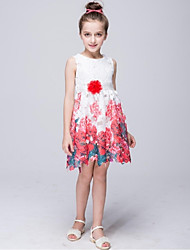 A-line Knee-length Flower Girl Dress - Polyester Jewel with Pattern / Print