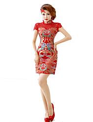 Lolita Clássica e Tradicional Inspiração Vintage Elegant Cosplay Vestidos Lolita Estampado Manga Curta Comprimento Médio Vestido Para