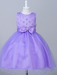 Ball Gown Knee-length Flower Girl Dress - Organza Jewel with Beading Bow(s)