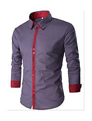 Мужчины На каждый день Рубашка Рубашечный воротник,Простое Однотонный Белый Черный Серый Длинный рукав,Хлопок