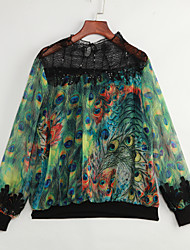 Women's Going out Vintage Spring BlousePrint Crew Neck Long Sleeve Green Cotton / Polyester Thin