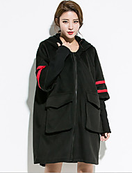 Women's Going out Simple Sophisticated Trench Coat,Color Block Hooded Long Sleeve Fall Winter Wash inside out Dry flat Cotton Polyester