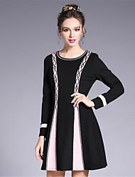 2017 Women's Vintage Elegance Bead Color Blocking Patchwork Plus Size Vintage A Line Dress