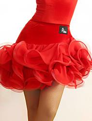 Latin Dance Tutus & Skirts Women's Performance Tulle Velvet Ruched 1 Piece Natural Skirt