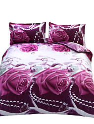 Mingjie 3D Reactive Print Purple Rose Bedding Sets 4 Pcs for Queen Size Contain 1 Duvet Cover 1 Bedsheet 2 Pillowcases from China