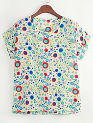 Women's Casual/Daily Simple Summer Blouse,Print Round Neck Short Sleeve Thin